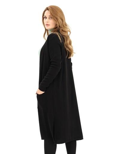 Modaplaza Kadın Cepli Uzun Siyah Triko Hırka  Siyah